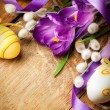 Easter background with flowers and Easter eggs - Stock Photo