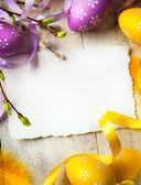 Arte fondo de pascua con huevos de pascua — Foto de Stock