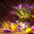 Art Easter background with crocuses and Easter eggs — Stock Photo