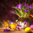 Art Easter background with crocuses and Easter eggs - Stockfoto