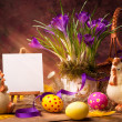 Art Easter background with flower and Easter eggs — Stock Photo #9744161