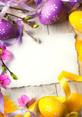 Art Easter greeting card with Easter eggs — Stok fotoğraf