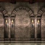 Каменная стена с арками — Стоковое фото