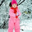 Toddler girl walking at beautiful winter day — Stock Photo #8810918