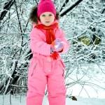 Toddler girl walking at beautiful winter day — Stock Photo #8810918