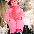 Toddler little girl sits on a stump on a winter day — Stock Photo #8810933