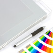 Graphics Tablet, Pen And Colour Chart — Stock Photo #8561709