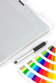 Graphics Tablet, Pen And Colour Chart — Stock Photo