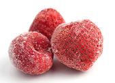 Three Frozen Strawberries — Stock Photo