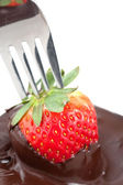 Chocolate Coating Strawberries — Stock Photo