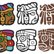 Mayan spot illustrations, with variations - Stock Vector
