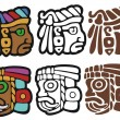 Mayan spot illustrations, with variations — Stock Vector