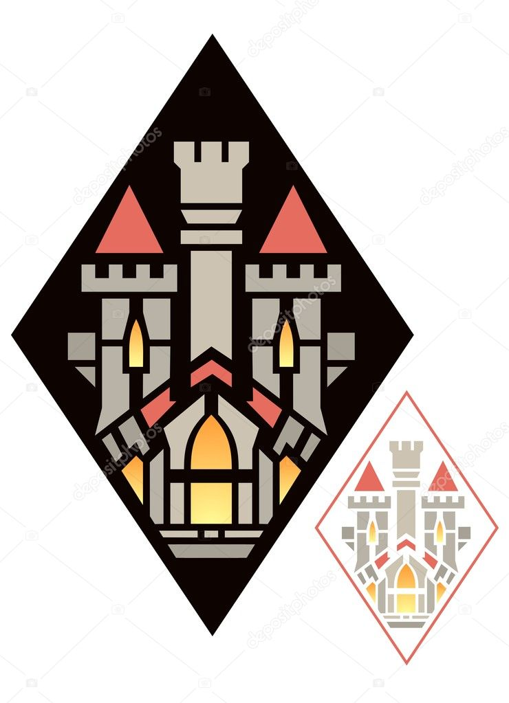 Diamond shaped ornament with fantasy castle — Stock Vector #10104728