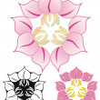Three flower emblem — Stock Vector