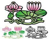 Art Deco style Water lotus — Stock Vector