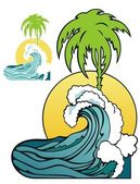 Tropical waves — Stock Vector