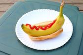 Banana dog with Ketchup — Stock Photo