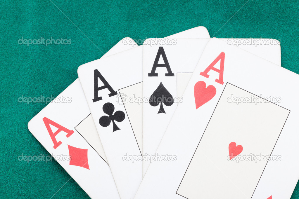 Poker aces on green background — Stock Photo #9896199