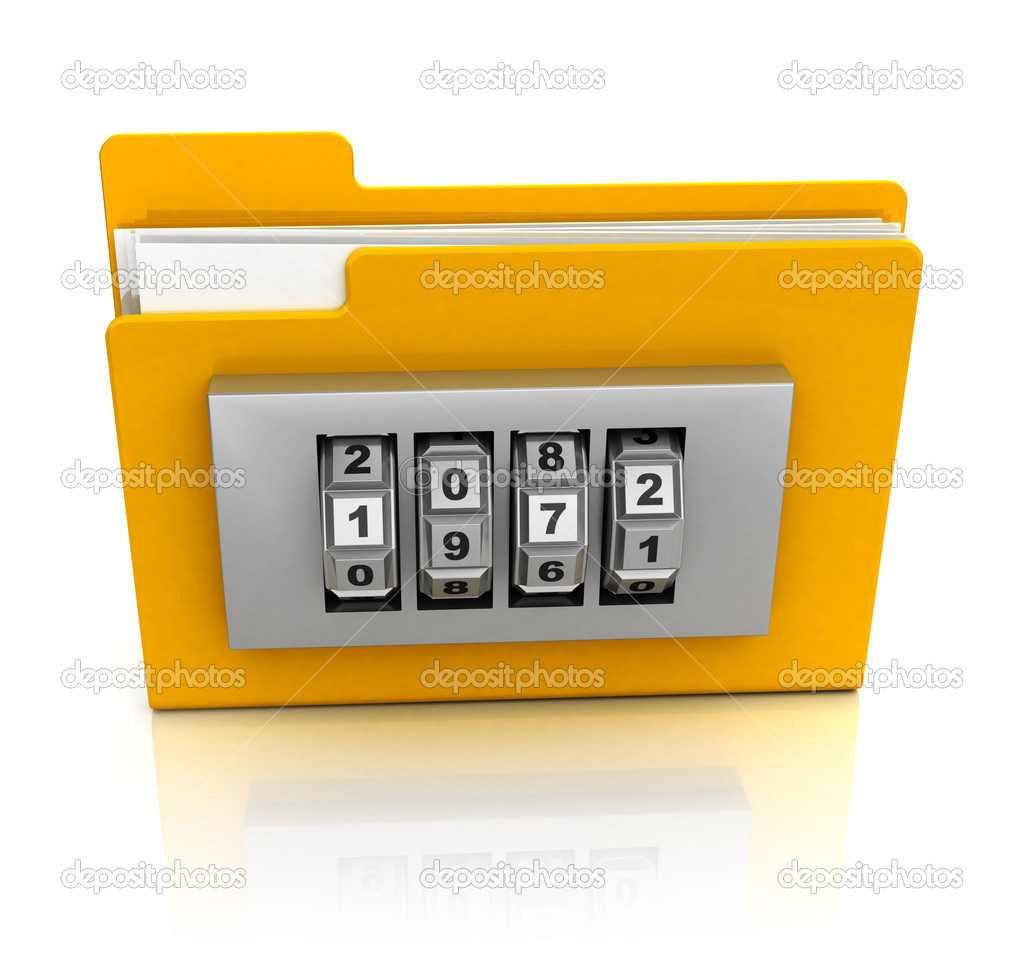 3d illustration of folder icon with combination lock — Stock Photo #9345663