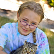 Girl Holding Kitten — Stock Photo