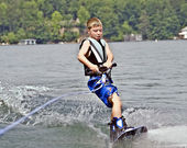Young Boy on Wakeboard — Stock Photo