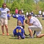 Couple Coaching Girls Soccer — Stock Photo