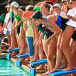 Stock Photo: Swim Meet Competition Teen Girls