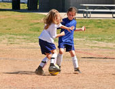 Two Young Girls Fighting for the Soccer Ball — Stock Photo