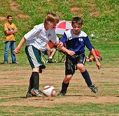Boy's Soccer Fight For the Ball — Stock Photo