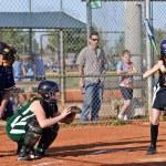 Girl's softball At Bat — Stock Photo