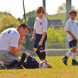 Stock Photo: Soccer Injury Player Down