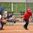 Boys Baseball Homeplate Action — Stock Photo
