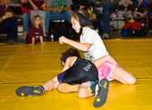 Young Girl and Boy Wrestling — Stock Photo