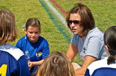 Woman Coaching Girl's Soccer — Stock Photo