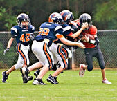 Youth League Football Tackling the Runner — Stock Photo