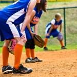 Girl's Softball Outfielders — Stock Photo