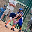 Girl's Softball Runner on First — Stock Photo