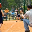 Stock Photo: Girl's Softball Runner and Coach