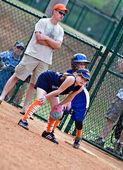 Girl's Softball Runner on First — Stock Photo