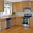 Stock Photo: Small Kitchen Bamboo and Pine