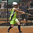 Young Girl Batting During Softball Game — Stock Photo