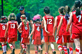 Girls Softball End of Game — Stock Photo