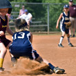 Making a Play at First Base — Stock Photo
