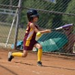 At Bat Young Girls Softball — Stock Photo