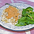 Stroganoff and Spinach Salad — Stock Photo