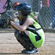 Stock Photo: Catcher Girls Youth Softball