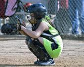 Catcher Girls Youth Softball — Stock Photo