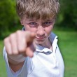 Boy Pointing — Stock Photo