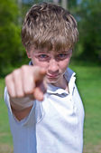 Boy Pointing — Stock Photo