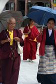 Monks under umbrellas — Stock Photo